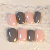 Light Pink Grey Lady False Nails Shiny Mix Colour Press-on Nails Set 24pcs Salon Quality Z230