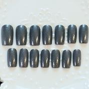 DIY Nail Accessories Shimmer Dark Grey False Nails Glitter Pattern Bent Acrylic Fake Nail Tips 24pcs Nail Set Z247