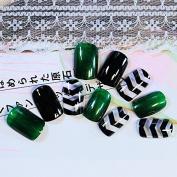 DIY Nail Accessories Black Dark Green False Nails Angle Stripe Acrylic Fake Nail Tips 24pcs Nail Set Z245