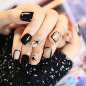 Clear Shield Shape Lady False Nails Rivet Studs Decoration Press-on Nails Set 24pcs Salon Quality Z234