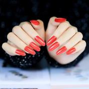 Bright Red Long Lady False Nails Medium Shimmer Press-on Nails Set 24pcs Salon Quality Z232
