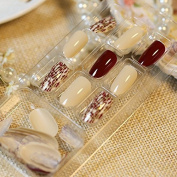 Beige Wine Red Nail Art False Nails Crossing Pre-designed Nail Tips Press-On Nails Z228
