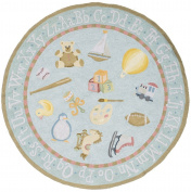 Momeni Rugs LMOINLMI-2BBL500R Lil' Mo Classic Collection, Kids Themed 100% Cotton Hand Hooked Area Rug, 1.5m Round, Baby Blue