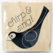 """Wood and Rubber Stamp """"Chirp and Sing!"""" Bird 5.1cm"""
