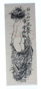 Asian Inspired Form Lady Woman Lotus Stampington And Co Wood Mount Rubber Stamp