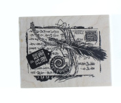 Windswept Postale Collage Feather Tag Stampington And Co Wood Mount Rubber Stamp