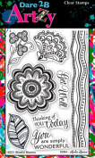 Dare 2B Artzy Blissful Blooms Clear Cling Rubber Stamps