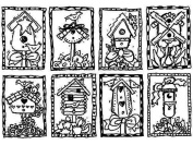 Stampington And Co Mini Birdhouse Collage Karen Foster unmounted Rubber Stamp