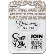 ScrapBerry's Clear Stamps 6.9cm x 6.9cm -Save The Date
