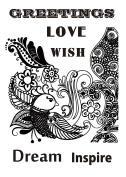 Dali Art A6 Clear Rubber Stamp - Mehndi Bird Song