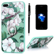 Badalink iPhone 7 Plus Case (14cm ) 360 Degree Rotating Ring Holder Kickstand Shockproof Soft TPU Bumper Frame + Colourful Painting PC Back Shell Slim-Fit Protective Cover for iPhone 7 Plus - Pattern 3