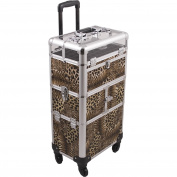 SUNRISE Nail Case on Wheels 2 in 1 I31064 Professional Organiser, 54 Bottle Capacity, 6 Trays, 4 Wheel Spinner, Locking with Mirror and Shoulder Strap, Brown Leopard