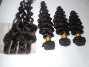 Wholesale 100% Peruvian Virgin Human Hair 3 Way Part Closure (4X4)+3 Bundles 25cm - 70cm Deep Wave Natural Colour Can be dyed