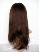 Hot-Selling Front Lace Wig Real With Stretch Lace Back Peruvian Virgin Remy Real Human Hair Yaki Colour #4