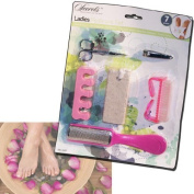 LADIES PEDICURE FEET FOOT CARE DRY SMOOTH SKIN BRUSH PUMICE BOARD NAIL CLIPPERS by Guaranteed4Less
