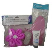 Foot Care Bundle With Flower Sponge, Pumice Nail Brush, Moisturising Socks, Curel Daily Moisture 30ml