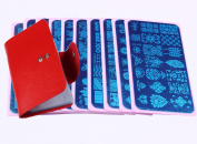 Beauty Leader 10 Pcs Nail Art Plates 6x12cm Pink HolderNail Art Stamping Image Plates + Red Case DIY Stamping Template