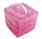 CellEletion Pink Nail Art Makeup Cosmetic Hairclips Storage Gift Box Container Box Case