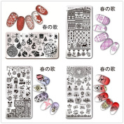 NICOLE DIARY 12x6cm Rectangle Nail Art Stamp Template Christmas Theme Snowflake Heart Gift Winter Holiday Xmas Image Plate