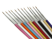Andercala 12pcs Nail Art Set Liner Striping Brushes for Details, Blending, Elongated Lines NA012