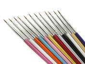 Andercala 12pcs Nail Art Set Liner Striping Brushes for Details, Blending, Elongated Lines NA012