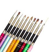 Andercala 10pcs Nail Art Kit Drawing Polish Brush and Painting Pen Tool Set