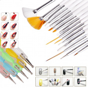 Andercala 20pcs Nail Art Kit Dotting Drawing Polish Brush and Painting Pen Tool Kit