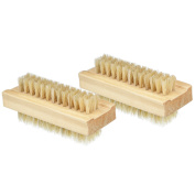 eBoot Wooden Nail Brush Double Sided with Boar Bristles, 2 Pack