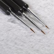 3pcs Wooden Handled Nail Brush For Acrylic Nail Art Painting Flower Drawing Brushes Liner Pen Nail Tools B01