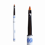 BTArtbox 1 Pcs Gel Acrylic Carving Brush Nail Manicure Salon Tools Blue and White Porcelain Metal Handle for Nail Art Design Manicure Tools