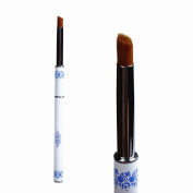BTArtbox 1 Pcs Nail Art Clean Up Acrylic Brush Pen with Metal Handle for Uv Gel Nail Art Manicure Tools Blue and White Porcelain Metal Handle