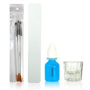 NYK1 Glass Dappen Dish, Nail Art Brushes & 10ML Prep & Shine