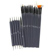 Glow 20 piece Nail Art Brushes and Nail Dotting Tools Set; Grey