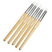 Yimart 5Pcs Nail Art Silicone Pen Brush Wooden Dotting Carving Emboss Shaping Hollow Pottery Sculpture Builder Clay Tools