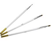 3PCS Wood Handle Nail Art Flat Brush Set Acrylic & UV Gel Brushes Sizes 4 6 & 8