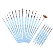 Ejiubas Nail Brush Set Manicure Tools 15 Pcs Nail Art Brushes and 5 Pcs 2 Way Silicone Carving Brush & Dotting Tool + Bag