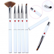 Ejiubas 6 Pcs Nail Art Brushes Nail Stamping Kits with Nail Stamper Scraper/Nail Art Tweezers/Nail Scissors White + Bag