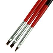 Sannysis 3pcs Red Soft and Professional Pen Nail Art Brushes Tool Set