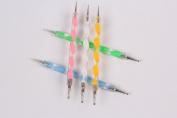 Lola 5pcs 2-ways Uv Gel Nail Art Dotting Painting Brush Pen Set Tool Crystal Glass