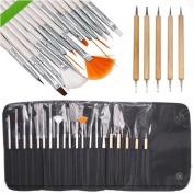 Lola 20pcs Nail Art Gel Design Pen Painting Polish Brush Dotting Drawing Tool Set