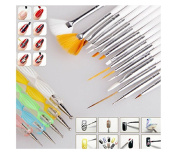 Lola 20pc Nail Art Manicure Pedicure Beauty Painting Polish Brush and Dotting Pen Tool Set for Natural, False, Acrylic and Gel Nails