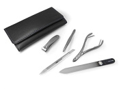 GERManikure 5pc matte stainless steel manicure set in black leather case with magnetic closure