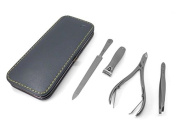 GERManikure 4pc matte stainless steel manicure set in grey leather frame case