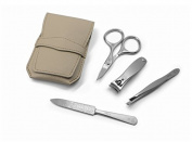 4pc matte stainless steel manicure set in light taupe tuck case, made by GERmanikure in Solingen