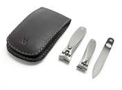 GERManikure 3pc matte stainless steel travel manicure set in black leather case with magnet clasp
