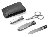 GERManikure 4pc matte stainless steel travel manicure set in black leather case with magnet clasp