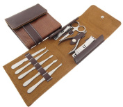 Spove Men's Travel Manicure Set Pedicure Grooming Kit 9pcs in One PU Leather Wallet Case