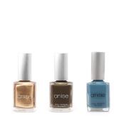 Anise Nail Polish Bundle - Blue Collar Denim, Dark Grey, and Bronze Shimmer, 15ml