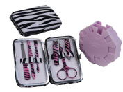 Animal Print Personal Manicure / Pedicure Travel and Grooming Kit with Fingernail Polishing and Painting Station - Zebra Print