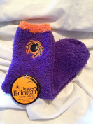 Cosy Purple & Orange Halloween Spider Crew Socks